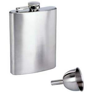 Maxam® 8oz Stainless Steel Flask and Funnel in Window Gift Box