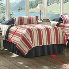 Orvis Denim Queen Bed Skirt New Blue Cotton Dust Ruffle Bedding Home 18 Drop Nwt