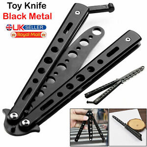 Black Metal Butterfly Balisong Toy Knife Trainer Training Dull Tool Practice New