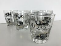 Set 7 Vintage Libbey Rocks Glasses Curio Carriage Buggy Coach Car Old fashioned