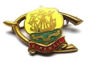 Vintage Kirkwall Wishbone Enamel Badge