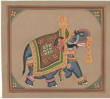 Ethnic Painting Miniature Handmade Old Paper Elephant Gold Work Animal Painting