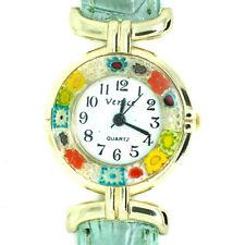 Murano Glass Watch Green Strap Gold Trim Millefiori Quartz Venice Art