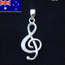 Silver Music Note Treble Clef Pendant with rhinestones
