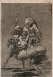 """FRANCISCO DE GOYA  """"Unos a otros"""" Original etching #77 of Los Caprichos RARE!"""