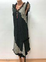 Piro ELISA CAVALETTI size XXL 2XL Black Beige Polka Dot Dress Lace Detail Midi