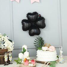 "10 Black 15"" wide Clover Mylar Foil Balloons Wedding Birthday Decorations"