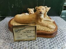 More details for sculptures from scotland wildtrack lioness and cubs limited edition 141/750 mint