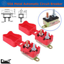 2 X 50A AMP 12V Metal Circuit Breaker Cover Fuse Auto Rest Dual Battery