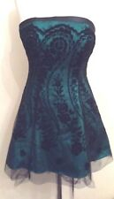 JANE NORMAN Green & Black Strapless Lace Up Back Party Dress Size S