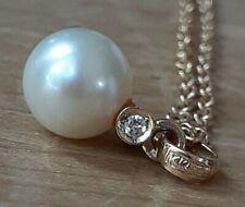 14k gold diamond pearl PENDANT