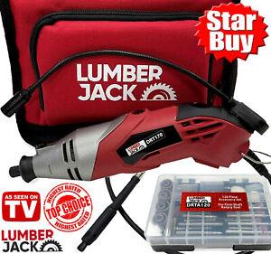 Lumberjack Rotary Multi Tool with Light Flexi Shaft & 120Pc Set Accepts DREMEL
