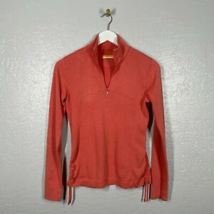 Lucy Size S Coral Pink 1/4 Zip Long Sleeve Pull Over Athletic Cinched Side