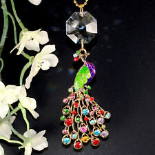 Big Colorful Rhinestone Peacock Swarovski Crystal Lily 28mm Octagon Suncatcher