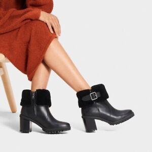 NEW UGG ELISIANA WOMEN HEELS BOOTS WATERPROOF LEATHER BLACK BOOTIES size US 5.5