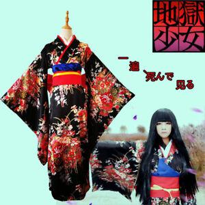 Enma-Ai Japanese Kimono Lolita Maid Hell Girl Outfit Anime Cosplay Costume Dress