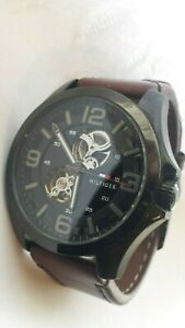 MENS TOMMY HILFIGER 1791280 Bruce Automatic Brown Leather Strap Gents Watch