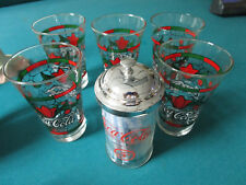COCA COLA GLASSES TUMBLERS STAINED GLASS CHRISTMAS POINSETTIAS AND STRAW HOLDER
