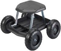 Rolling Garden Cart Scooter with Seat and Utility Tool Storage Tray, Black