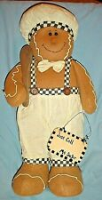 """Plush Gingerbread Man Chef in White Pants w Wooden Spoon Christmas Decor/20"""""""