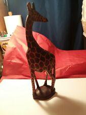 """Wooden Giraffe Statue 13"""" Tall"""