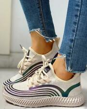 Striped Lace-Up Muffin Casual Reflective Sneakers