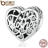 Bamoer European S925 Sterling Silver Charm LOVE Mother&Son Fit Bracelets Jewelry