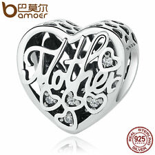 Bamoer European S925 Sterling Silver Charm LOVE Mother&Son Fit Bracelets Jewelry