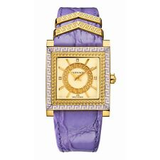 Versace Womens VQF040015 DV-25 Gold IP Steel Square Diamond Purple Leather Watch