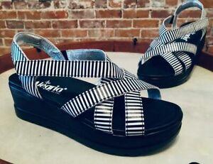 Alegria Black White Stripe Leather Myka PG Lite Wedge Sandals 36 6-6.5 New