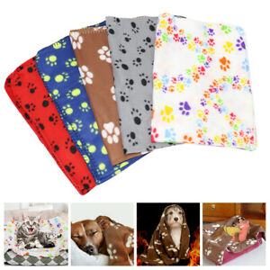 Warm Dog Cat Blanket Paw Print Washable Bed Cushion Pad Mat for Small Large Dogs
