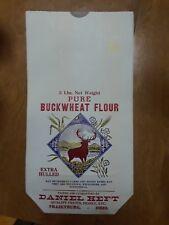 VINTAGE Daniel Heft Buckwheat FLOUR 5 lb Advertising BAG SACK Frazeyburg Ohio
