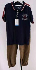 NWT ORIGINAL PENGUIN JUNIOR Polo & Pants Outfit Navy Brown Boy's Sz 6 NEW $44