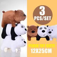 We Bare Bears Plush Toy Grizzly Panda Ice Bear Stuffed Soft Doll 12x25cm 3PCS