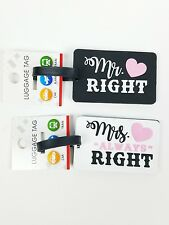 """(Set of 2) Luggage Tags Suitcase ID Honeymoon """"Mr. RIGHT"""" & """"Mrs. Always RIGHT"""""""