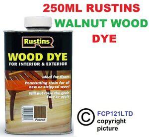 RUSTINS WOOD DYE WALNUT 250ML QUICK DRYING, NON-FADING AND NON-BLEEDING