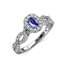 Oval Cut Tanzanite and Diamond Halo Engagement Ring 0.75 ctw 18K Gold JP:156914