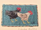 Linda Miller Embroidered Art Piece Two Chickens