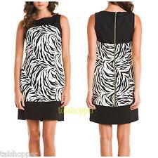NWT 10 $150 MUSE GORGEOUS BLACK / WHITE COLOR BLOCK ZEBRA SHEATH DRESS SO CUTE!