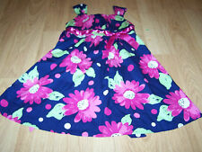Girls Size 4 Jessica Ann Navy Blue Pink Green Floral Print Summer Dress Sundress