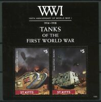 St Kitts 2014 MNH WWI WW1 100th Anniv First World War I Tanks 2v S/S Stamps