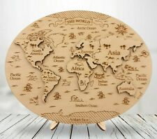Wooden World Map Puzzle, Educational Toy, Home Decoration, Wooden Continent Maps