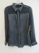 New with Tag - DKNY Jeans Petite Sheer Black & Gray Button-Up Shirt Size PS
