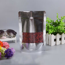 Embossing Aluminum Foil Food Pouches Silver Stand Up Self Seal Bags With Window