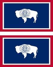 2 x Autocollant sticker voiture vinyl drapeau USA americain wyoming