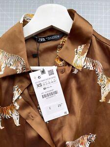 BNWT Zara satin tiger print shirt brown - XS
