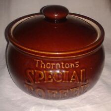 VINTAGE THORNTONS SPECIAL TOFFEE JAR BROWN EARTHENWARE PEARSONS CHESTERFIELD