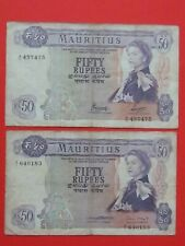 MAURITIUS 1st ISSUE (1967 RARE SCARCE) 2X50 RUPEES DIFFERENT SIGNATURE BANKNOTES