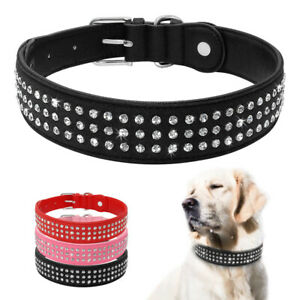 Diamond Leather Dog Collar Medium Large Dogs Bulldog Labrador Rhinestone Collars