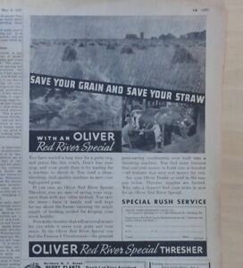 1937 magazine ad for Oliver Farm Equipment - Red River Special Thresher, Save
